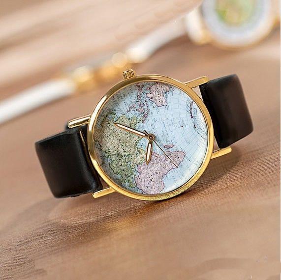 Stan vintage watches  World Map Wrist Watch Mens Unisex Watch Women Watches (WAT0079)
