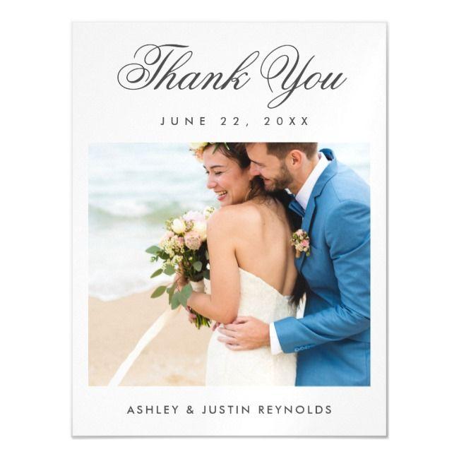 Elegant Script Photo Wedding Thank You Magnet