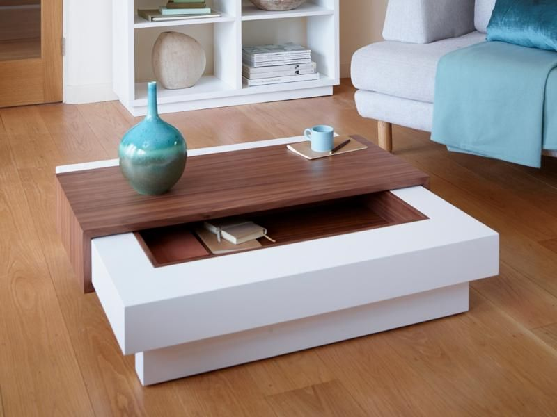 Contemporary Coffee Table With Storage In Matt Stone Or Matt White