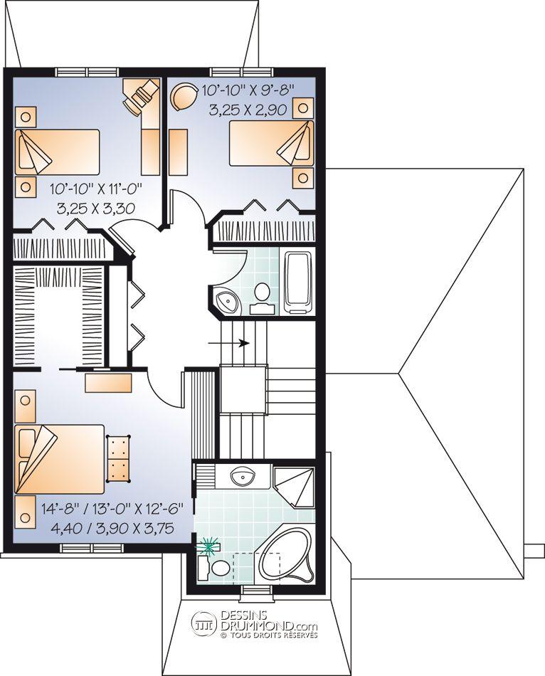 house_plan_maison_niveau_level_Etage_W3446 idée décoration - plan d interieur de maison
