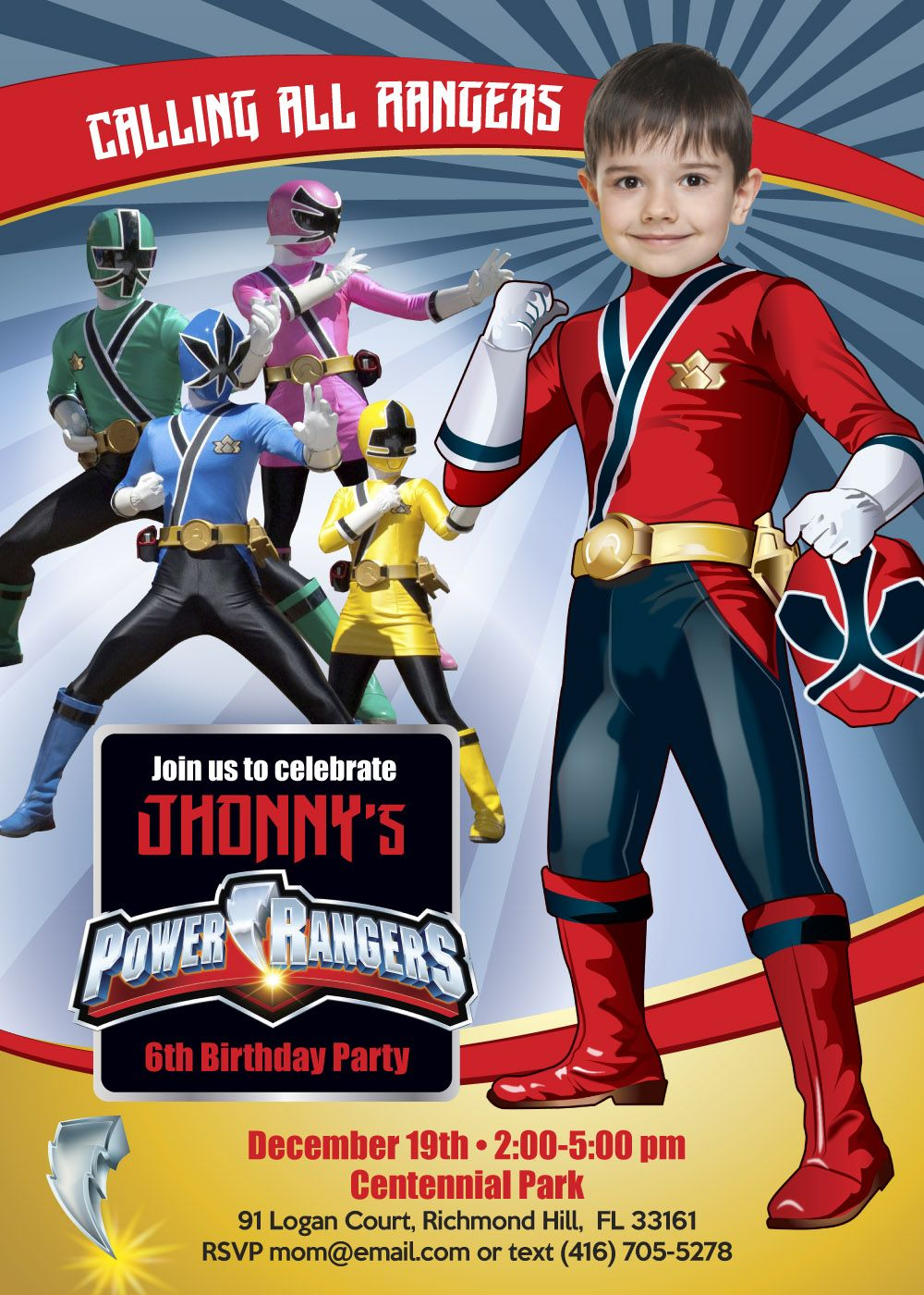 power rangers party invitation red
