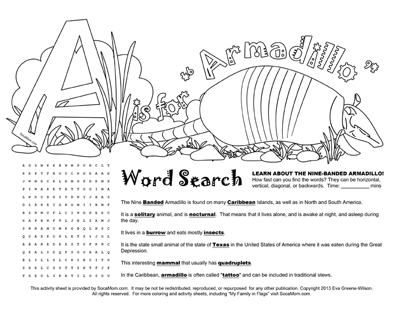 a is for armadillo caribbean alphabet coloring pages - Armadillo Coloring Pages Print