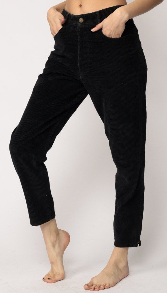 good texture sneakers for cheap compare price Corduroy Pants Jeans GUESS Mom Jeans Black High Waisted 80s ...