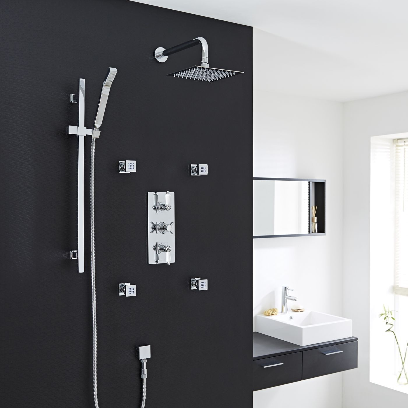"""Beaumont Thermostatic Shower System with 8"""" Square Head & Wall Arm, Handset & 4 Square Jet Sprays $700"""
