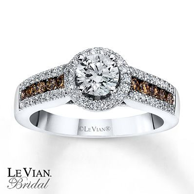 Chocolate Diamonds 1 ct tw Engagement Ring 14K Vanilla Gold Gemz