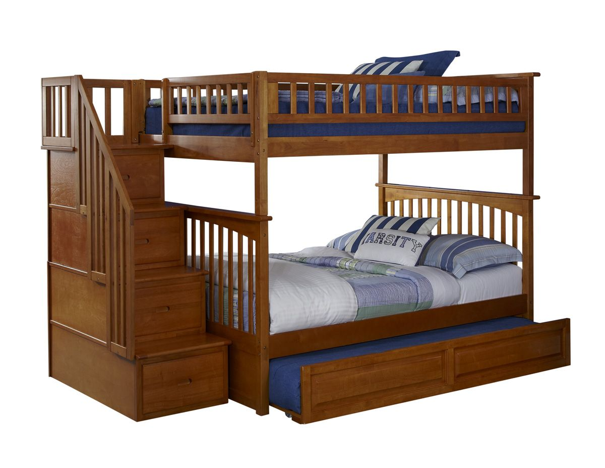 Caramel Latte Columbia Staircase Bunk Bed Full Full With