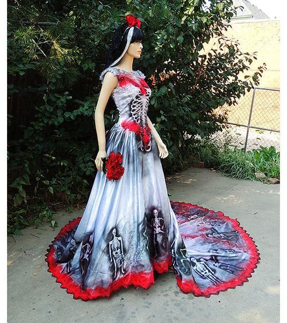 Black Wedding Dresses Deluxe Sugar Skull Dia De Los Muertos Bride Or By GraveyardShift13 19900 Wow