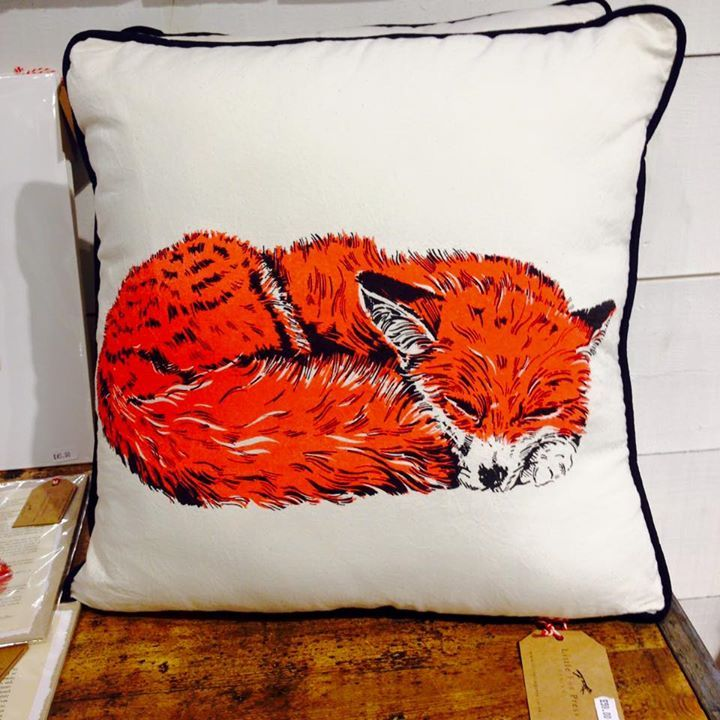 Fox hand-made screen printed cushion from Little Fox Press, on sale at Slamseys