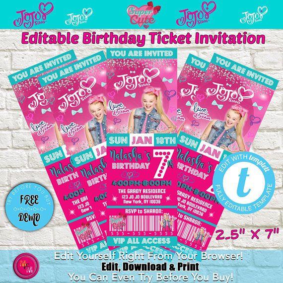 Editable JoJo Siwa Birthday Party Ticket Invitation Printable, JoJo - ticket invitation template