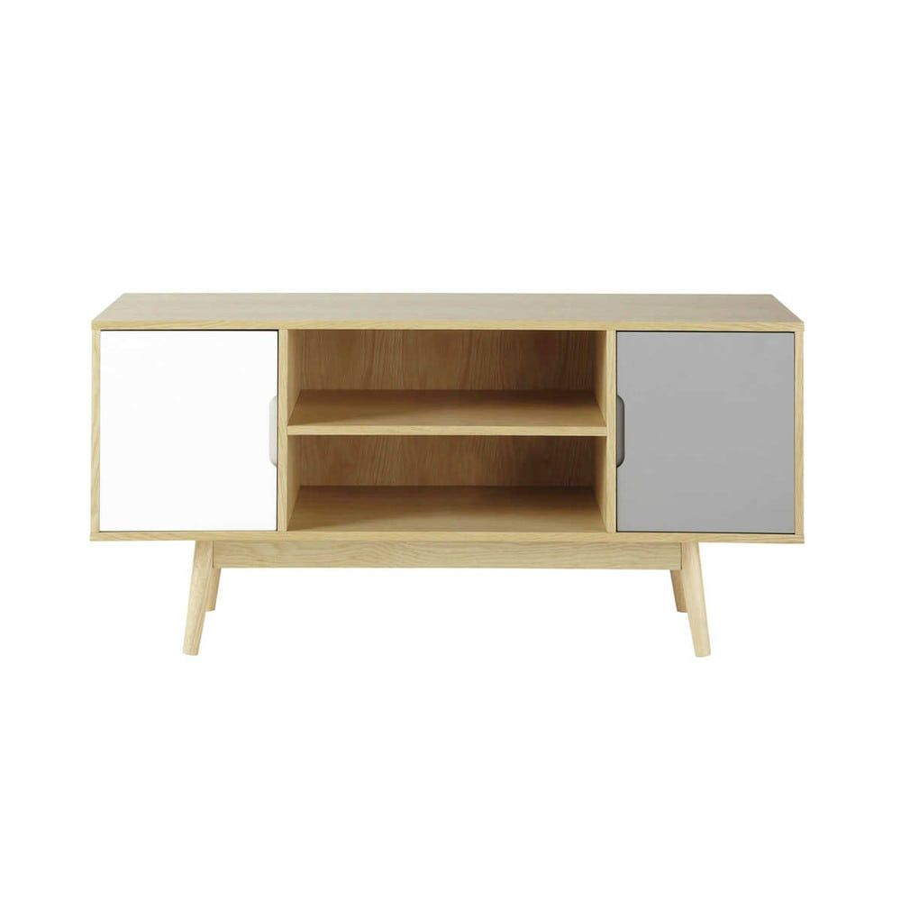 Meuble Tv Vintage Design Mueble De Tv Vintage Con 2 Puertas Blanco Y Gris Fjord In 2019