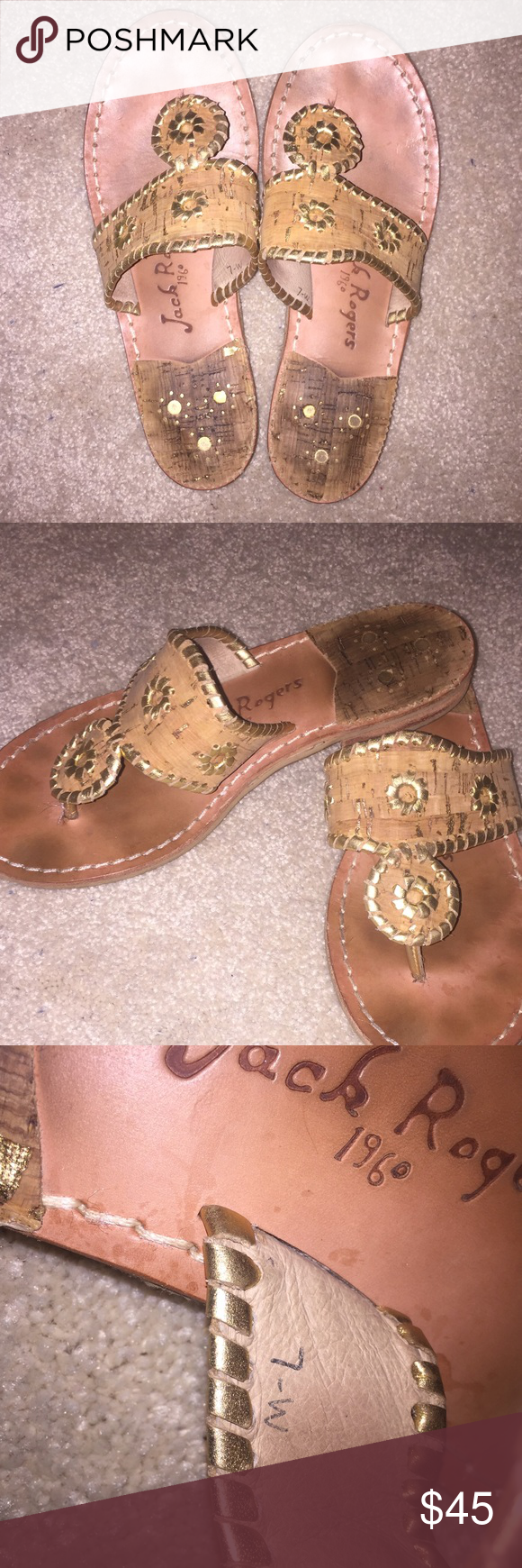 Cork and Gold Jack Rogers Cork and gold, gently worn, no damage, size 7 Jack Rogers Shoes Sandals
