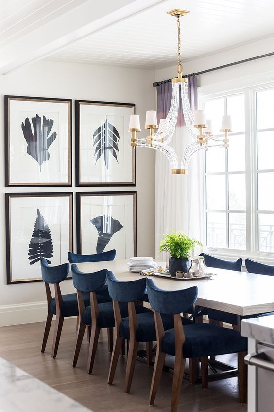 Cream Dining Room And Geometric Decor Chandelier With Hague Blue