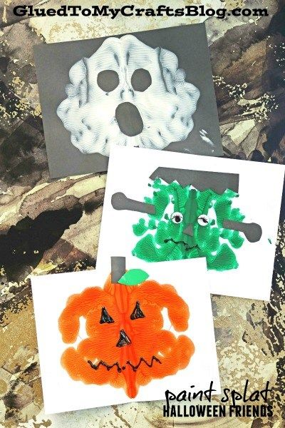 Paint Splat Halloween Friends - Kid Craft Family Fun Activities - halloween kids craft ideas
