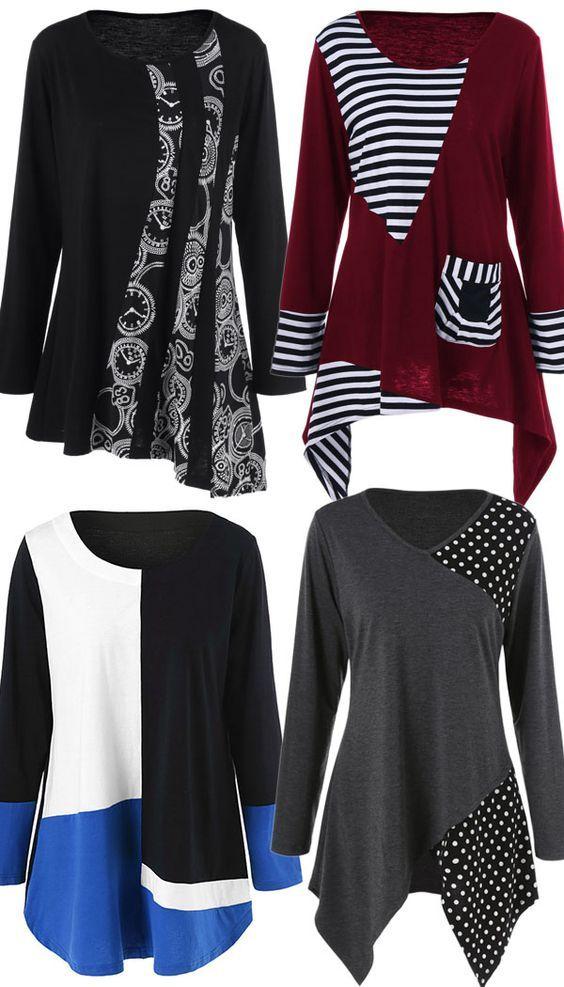 f5890974ce6 Plus Size Asymmetric Striped Tunic T-Shirt