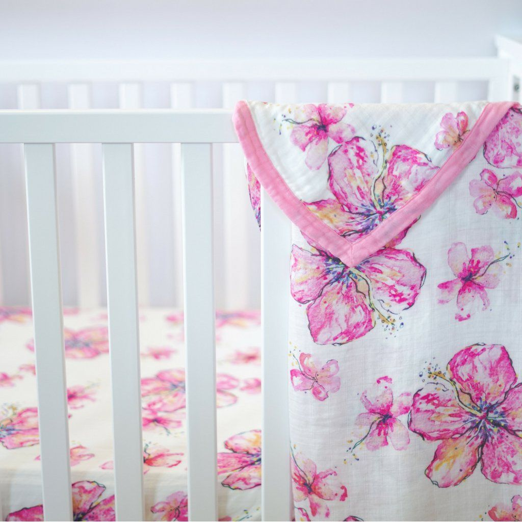 Crib Sheet Hibiscus Crib Sheet Flower Crib Sheet Security Blanket And Swaddle Blanket Perfect For An Crib Sheets Tropical Nursery Baby Nursery