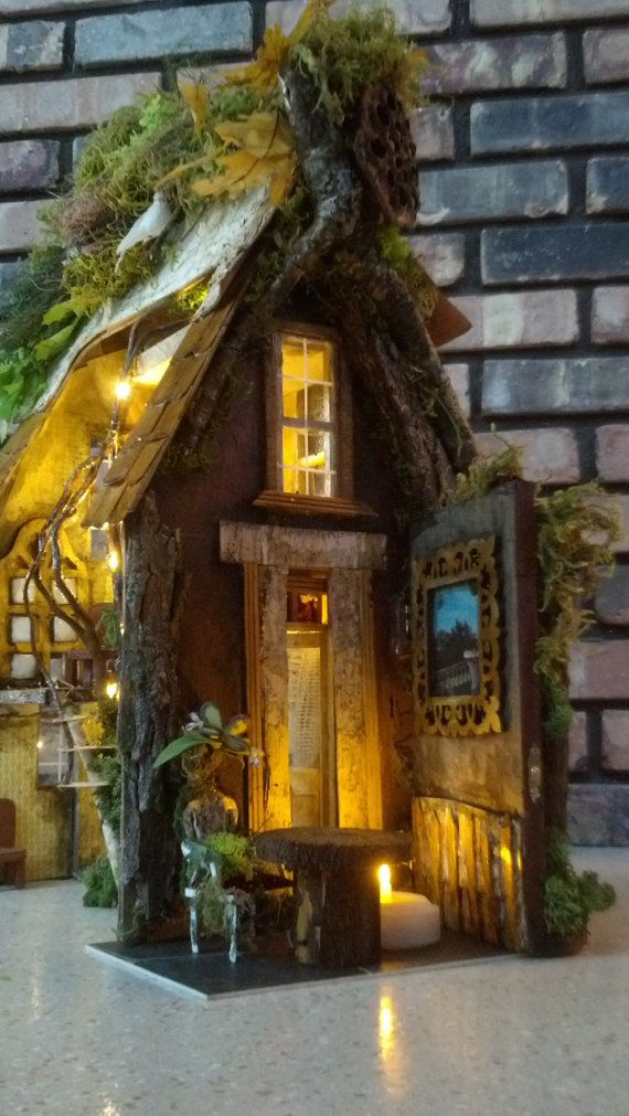 Curled Mossy Awning Fairy Door By Cindibee Fairy Houses