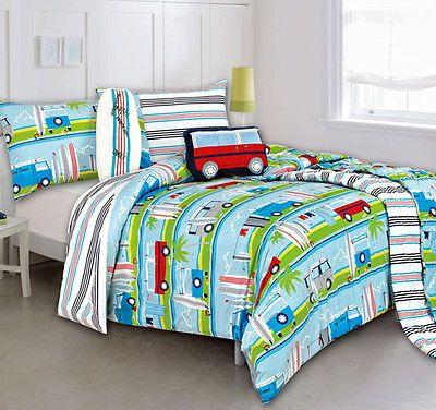 Kas Kooky Surfboard Surfs Up Kombi Van Beach Queen Bed Quilt Duvet Set Cushion