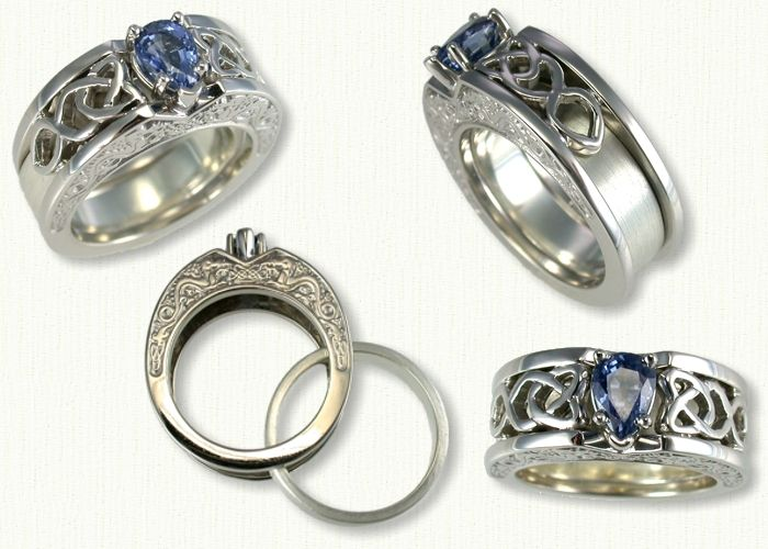 C Celt Dara Reverse Cradle Engagement Ring set with a 103 ct Pear