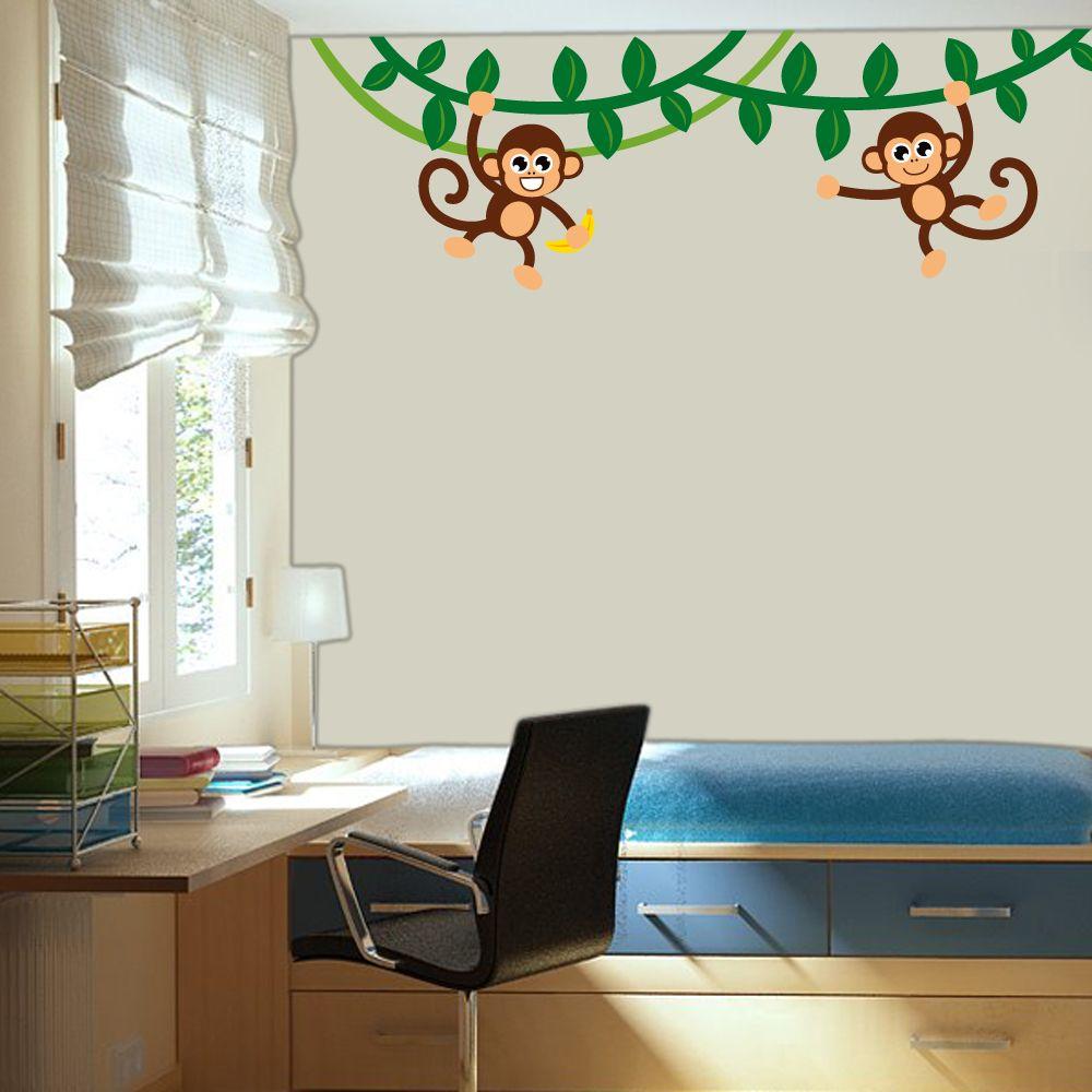Room Baby Monkeys Swinging on Vines Printed