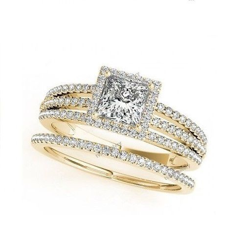 Stunning k Yellow Gold Princess Diamond Cut Wedding Ring u Band Bridal Set For Women us