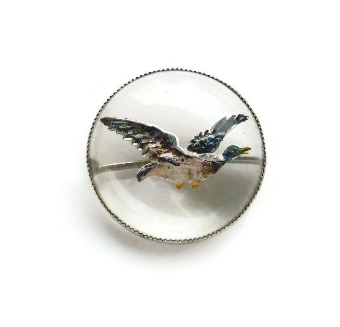 Brooches Store Blue Silver and Crystal Duck Bird Brooch