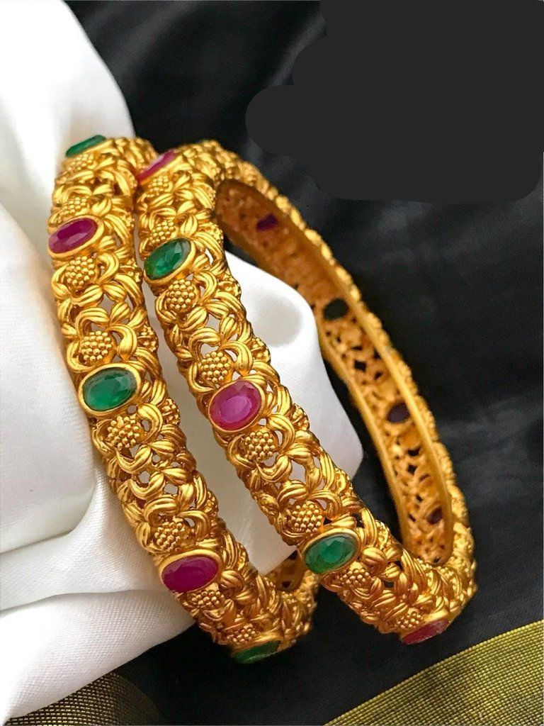 Indian Bollywood Style Gold Plated Pearl Ruby Green Polki bangle Set Jewelry