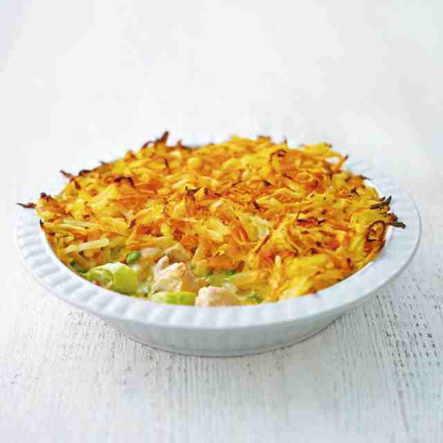 Rosti-topped salmon pot pie, a delicious recipe from the new Cook with M&S app.