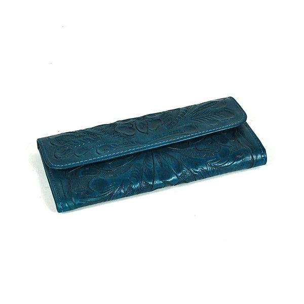 Hand carved turquoise leather women s wallet by yeo