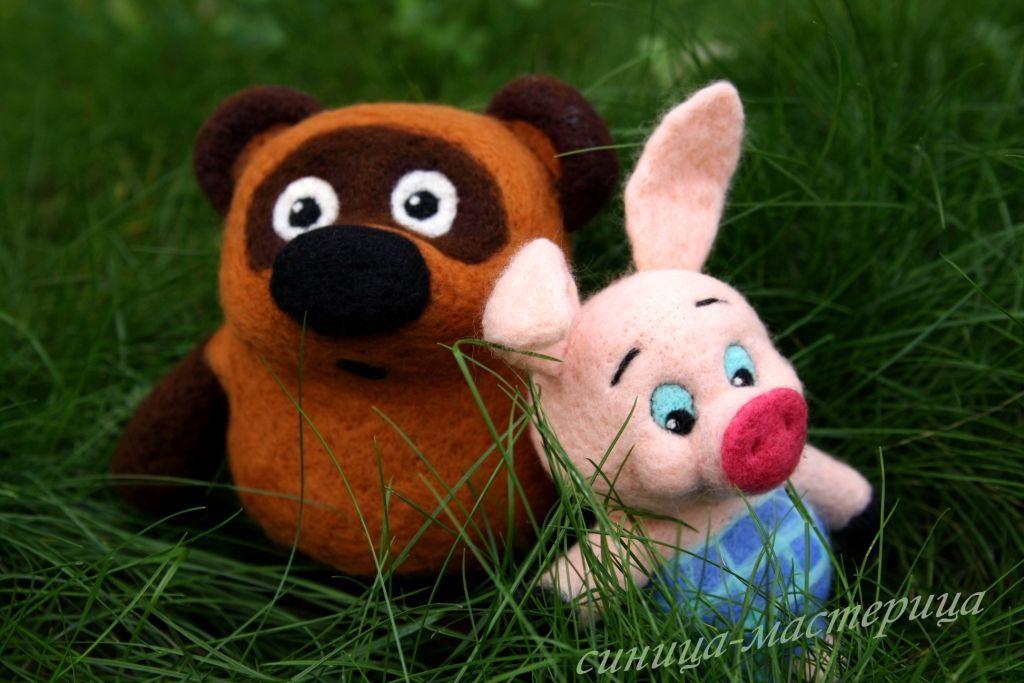 Винни Пух и Пятачок (валяная игрушка) – заказать на ...