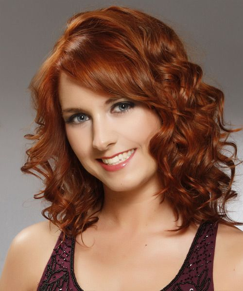 Medium Curly Copper Red Hairstyle With Side Swept Bangs Medium Hair Styles Curly Hair Styles Medium Length Hair Styles