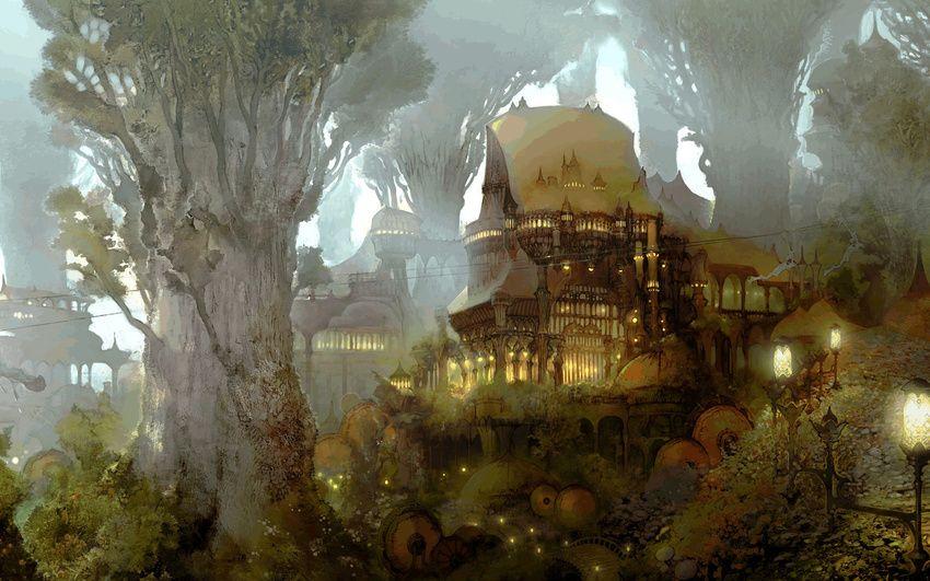1440x900 тропинки, фонари, чертоги, арт, лес, дома, древность, Gridania, замки обои на рабочий стол 51055