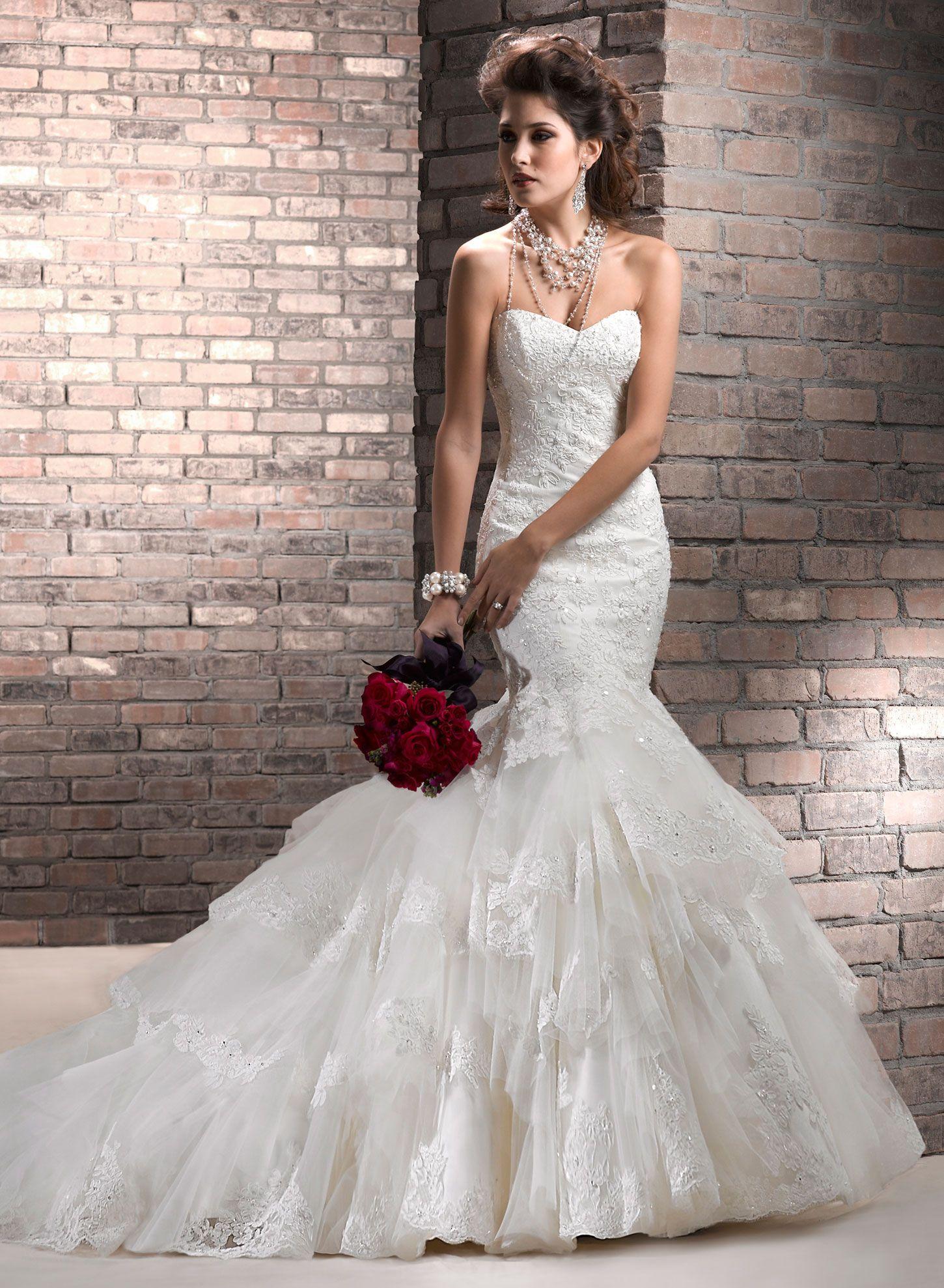 Trumpet style wedding dresses  Maggie Sottero Wedding Dresses  Maggie sottero Wedding dress and