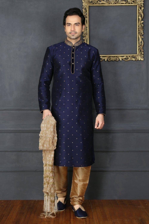 ae4d772968 Blue Art Silk Kurta Pajama Sku:518029 in 2019 | SubContinent ...