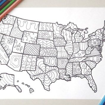Map Usa United States America Coloring Book Kids Adults Instant Download Travel Map Art Home Decor Printa Printable Art Prints Kids Coloring Books Travel Maps