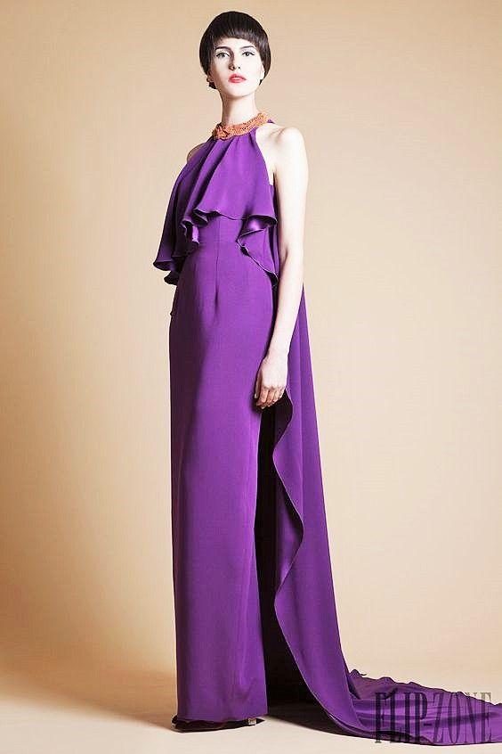 azzi & osta  printemps-été 20I3  collection robe violette longue volantée haute couture (high fashion purple dress)