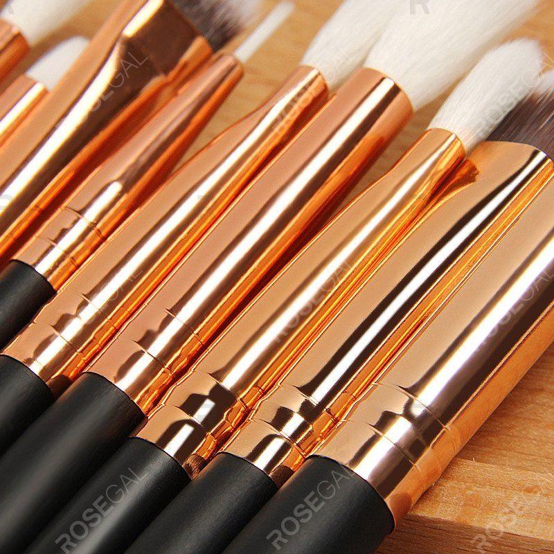 Photo of 12Pc Rose gold makeup brushes professional Eye Shadow Foundation Eyebrow oval Brush Cosmetic make up brush set toothbrush