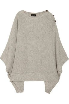 knitted cotton blend poncho ++ a.p.c.