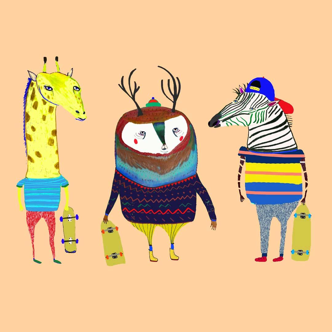 Skater animals by Illustrator Ashley Percival. illustration ...