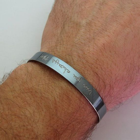 Handwriting Bracelet for Men Remembrance Mens Bracelet