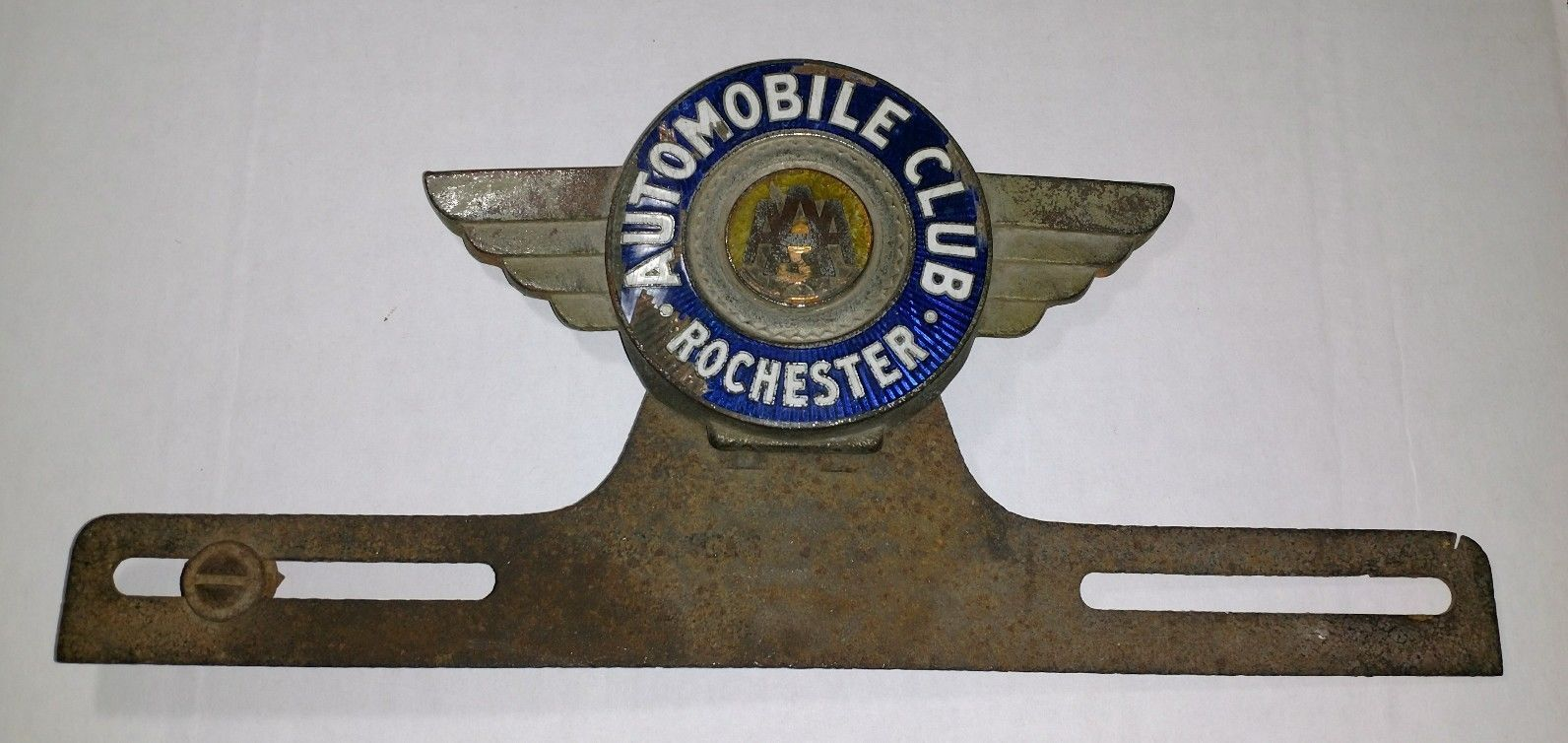 Aaa Auto Club Radiator Badge / Emblem License Plate Topper W