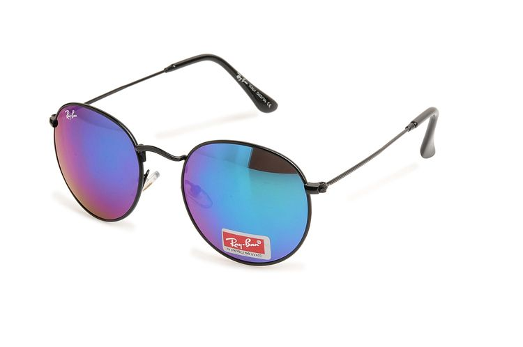 b783686e63133 Ray Ban Aviator Round Metal RB3447 Purple Black Sunglasses   RB ...