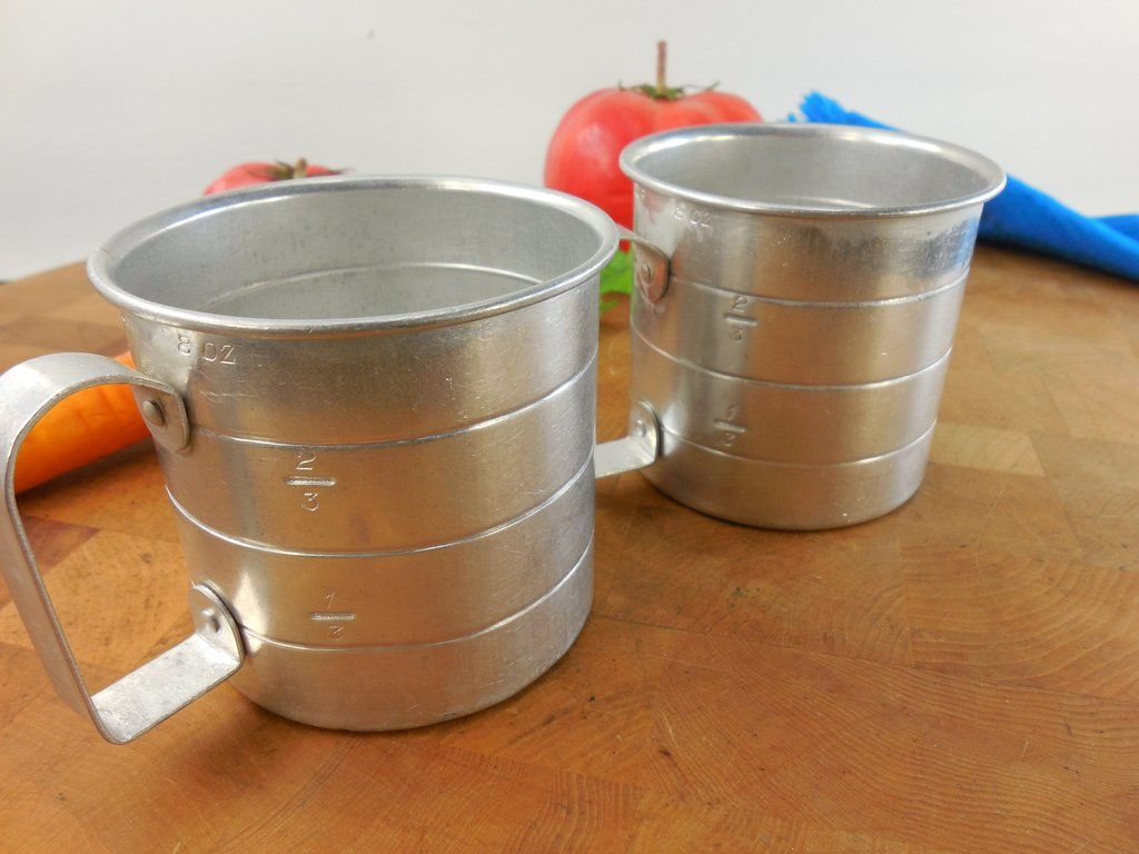 Vintage kitchenware - Pair Aluminum 8 Oz Measuring Cups D Handle Vintage Kitchenware