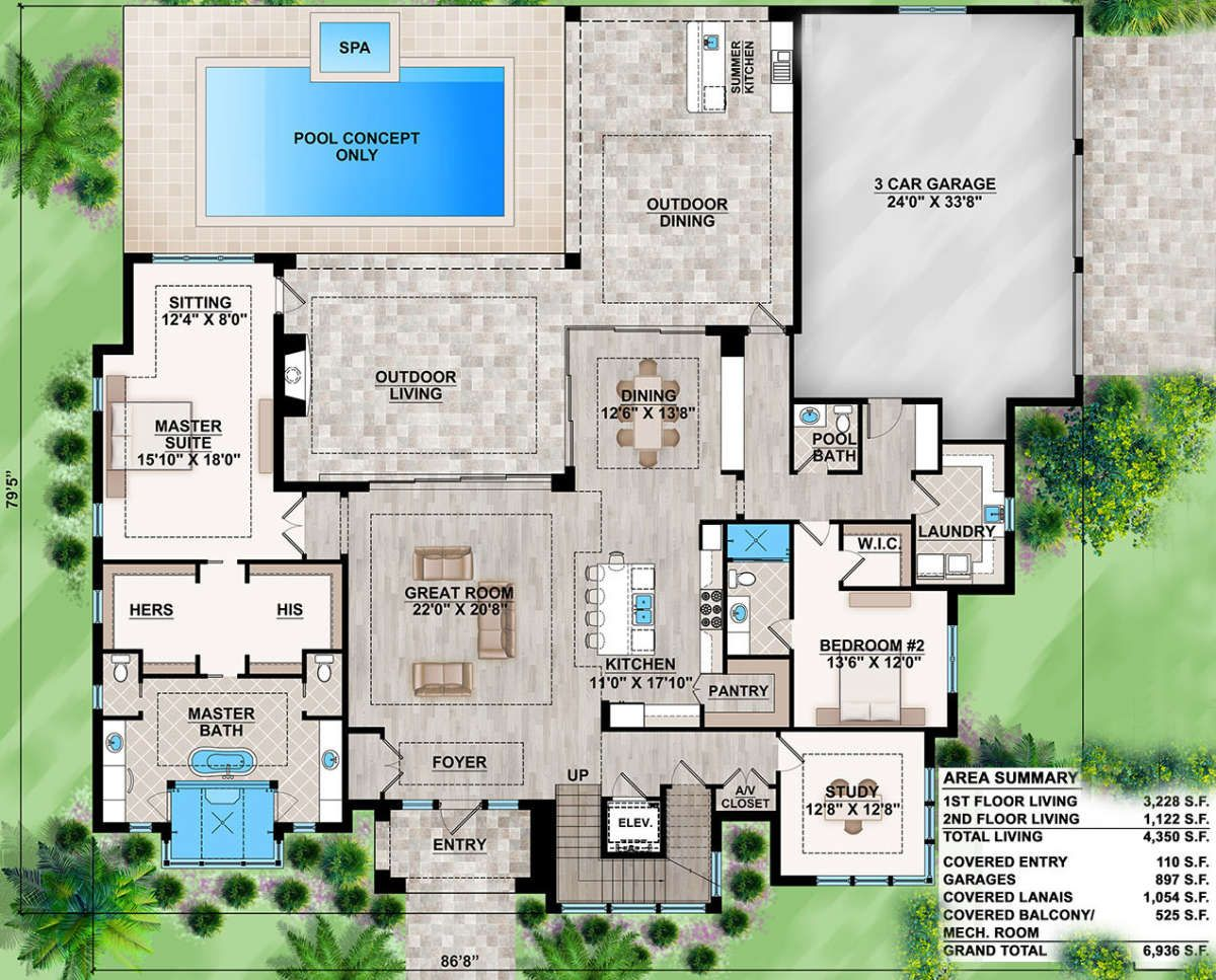 House Plan 207 00055 Contemporary Plan 4 350 Square Feet 4 Bedrooms 4 5 Bathrooms Mediterranean Style House Plans Mediterranean Homes House Floor Plans