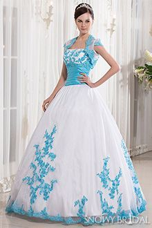 white+wedding+dress+with+blue+trim | White and blue wedding ...