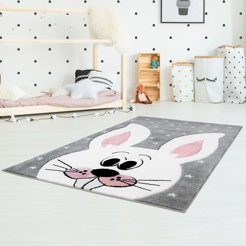 Kinderteppich mit Hase Bueno Kids 1414 Grau