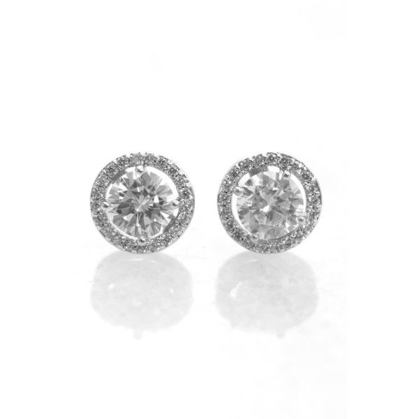 Laudica Large Cz Stud With Wreath 24 Liked On Polyvore Featuring Jewelry Earrings Clear Cubic Zirconia Studde