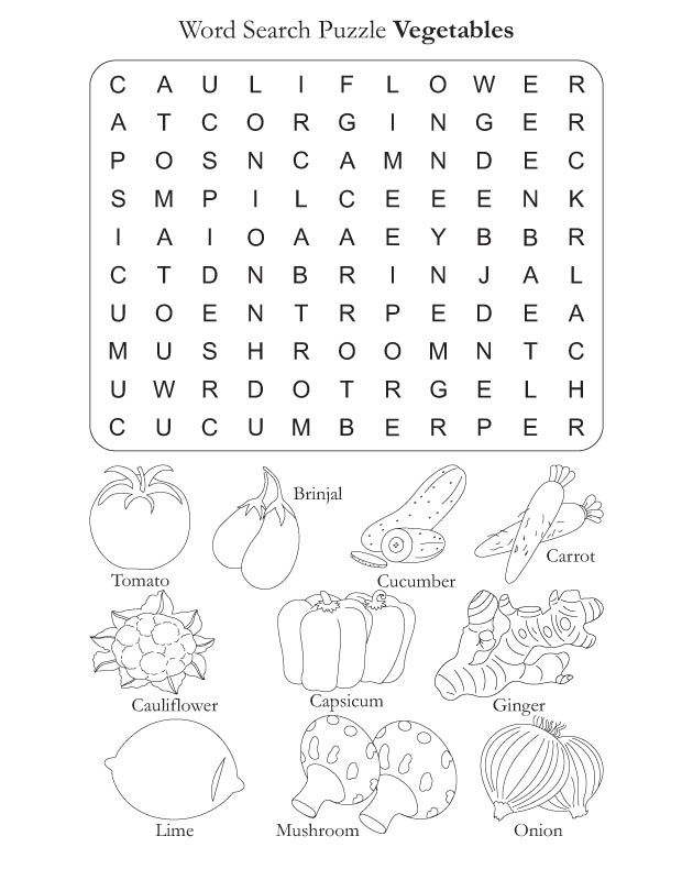 Word Search Puzzle Vegetables