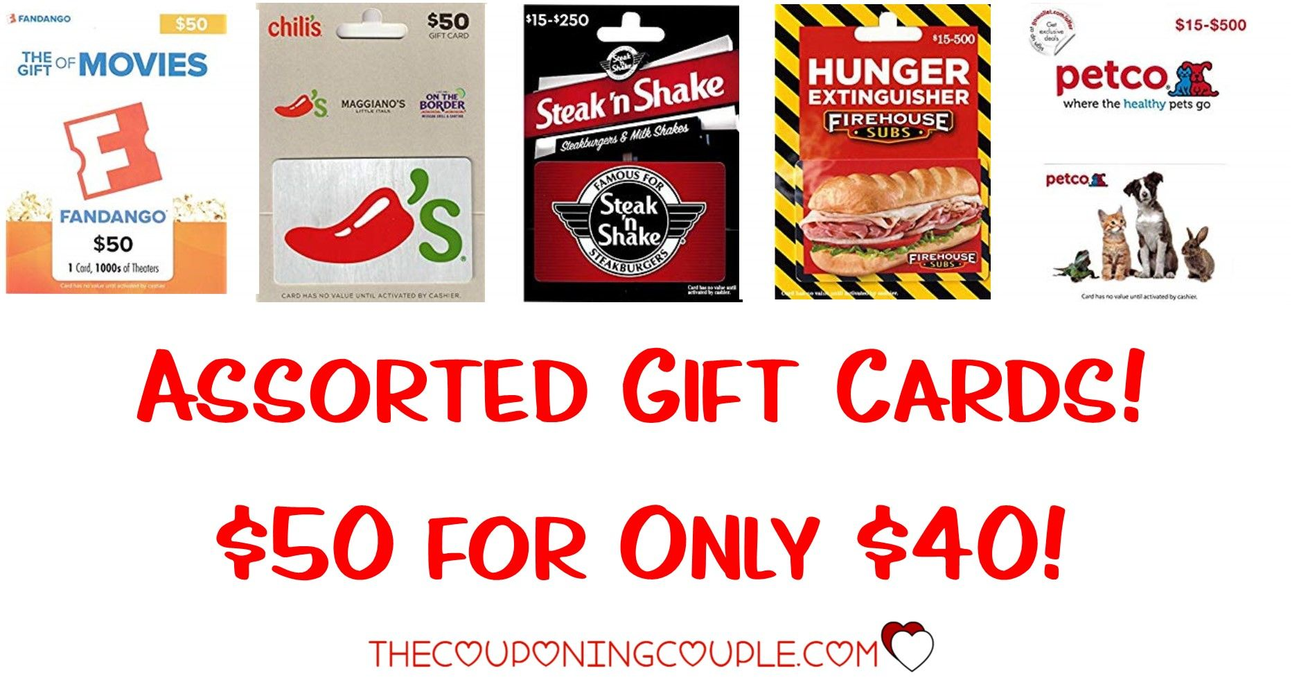 Assorted gift cards 50 gift cards for 40 fandango