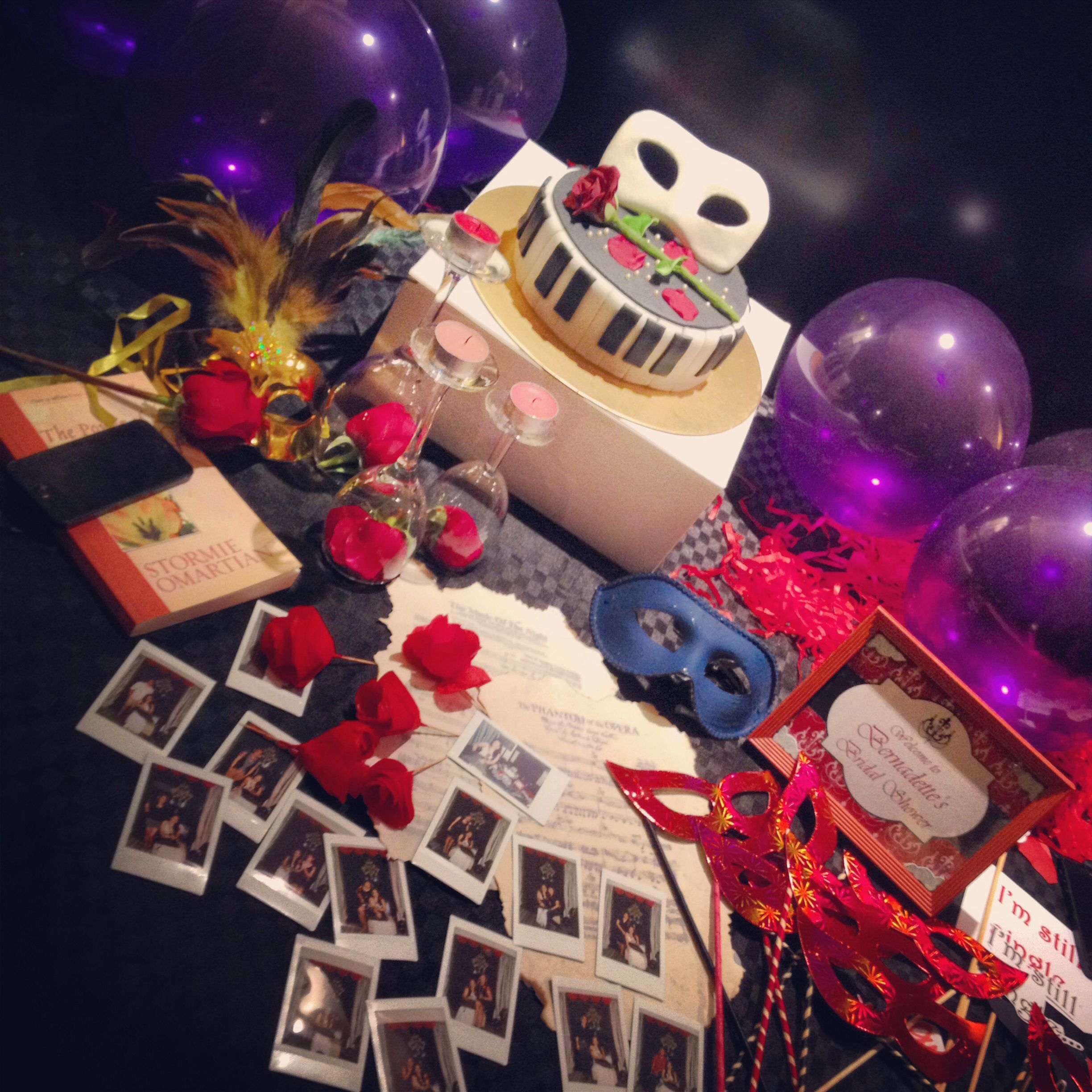 diy phantom of the opera themed bridal shower cake props souvenirs masks balloons instax for memories