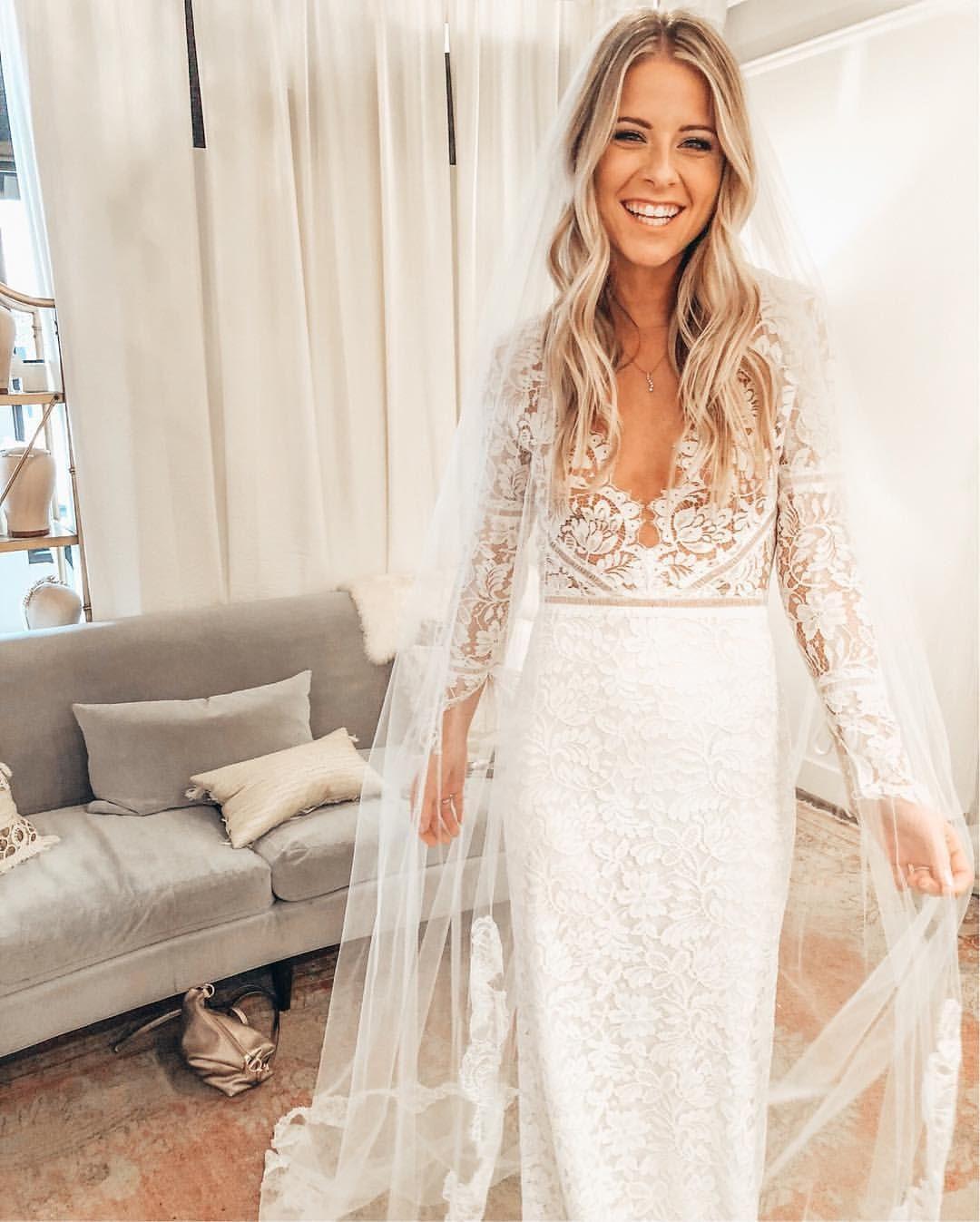 Sarah seven wedding dress boho lace wedding dress with sleeves